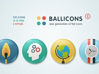Ballicons 2: New iteration of original trendsetter flat icons icon free set freebie ballicons pixelbuddha