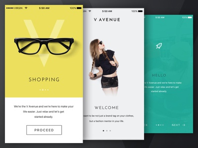 V Avenue WIP: Walkthroughs screen start shop ecommerce walkthrough ios kit ui app