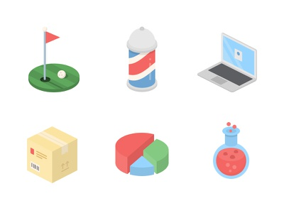 IsoCraft Icons flask graph pie package barber laptop sports golf flat cute isometric icons