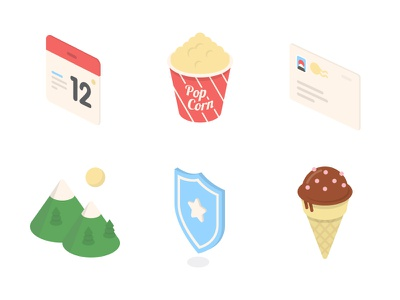 Isometric Six icons isometric cute flat ice-cream shield mountain email event calendar