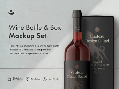 Wine Bottles Mockup Set design product photoshop scene template wine bottle wine box package mockup pixelbuddha psd