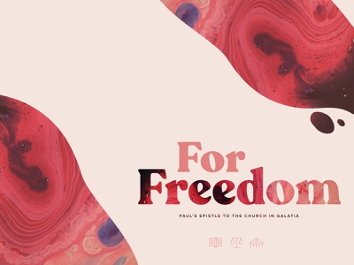 For Freedom series design jesus typography christianity des moines bible iowa logo red church