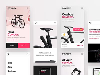 Cowboy Mobile Website startup app navigation menu review bike ecommerce website mobile