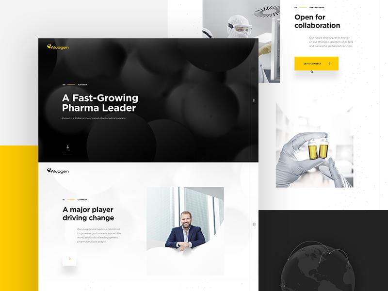 Alvogen - Home pharmaceutical corporate landing particles pharma home page desktop website