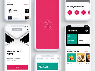 Nova App tone offers onboarding refill design app subscription services profile mobile ux ui