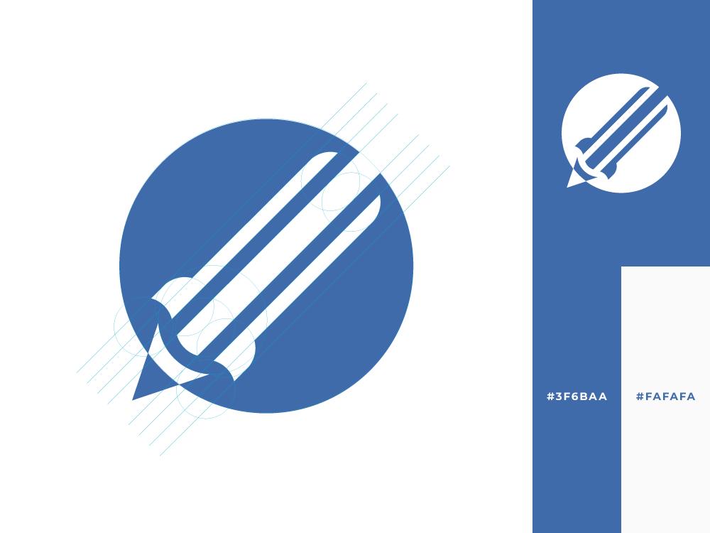 Rocket + Pencil | Logo Exploration startup rocket pencil blue professional logotype concept logo inspiration exploration design creative branding brand
