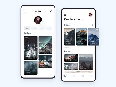 Travel Application - 1 poster adventure travel app planner mobile app visit trip clean ui icon card social photography travel 设计 ui