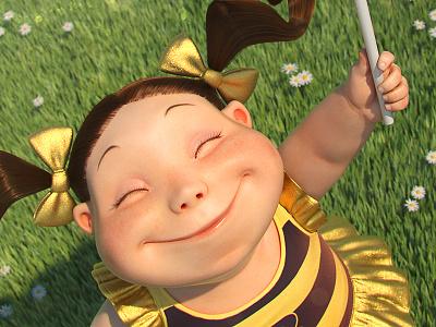 Lil'B! little girl bee illustration 3d character cartoon modeling cute artist jose alves silva josé da