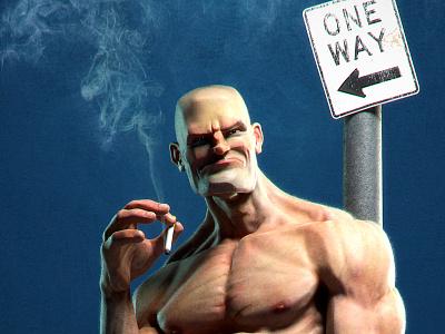 Barrio Guy bully muscle man smoke 3d illustration character artist modeling cartoon josé jose alves silva da