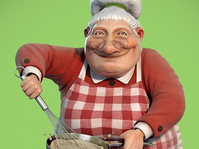 Mamma Mia old lady cook 3d illustration cartoon artist modeling character mascot jose alves silva da josé