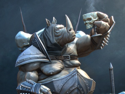 General Rhino animal alves cartoon da rhino warrior general fantasy illustration 3d character artist jose silva josé modeling