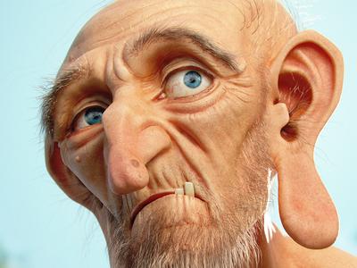 Hairy Old Guy old man character illustration cartoon jose alves da silva 3d artist josé modeling