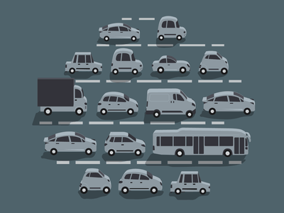 Traffic Jam WIP 2d car vector art illustration workinprogress