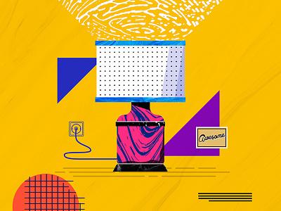 Design Everyday - Day 9 - Lamp illustration flat texture typo lamp