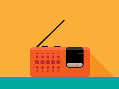 Radio II radio illustration flat gradients shape minimal vintage pocket music concept icon