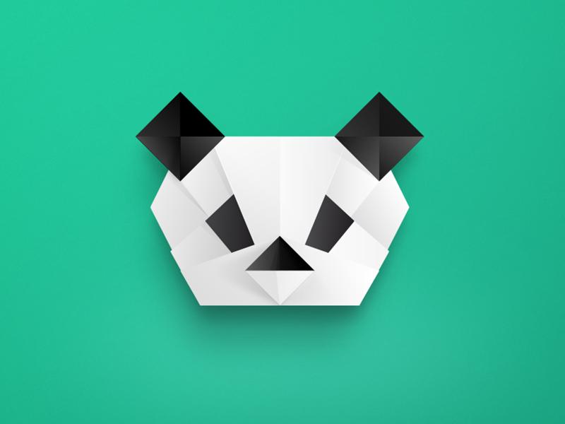 Panda origami illustrator vector protrait origami face gradient geometric poly facet digital art