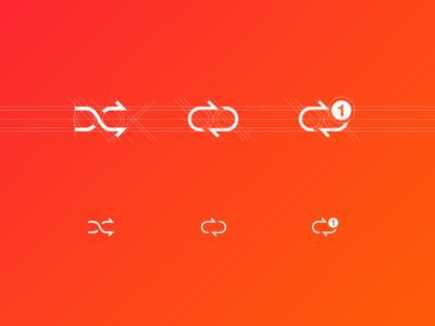 new custom icon-set icon set ios7 light random shuffle repeat player music grid redesign pictos