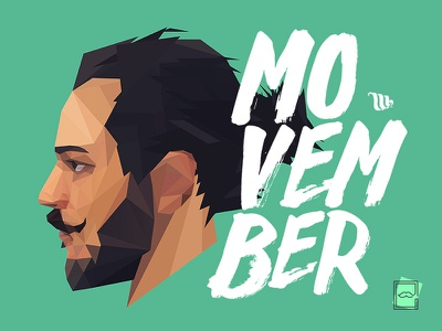 Movember movember moustache portrait poly geometric illustration facet gallery poster flat polygon lowpoly