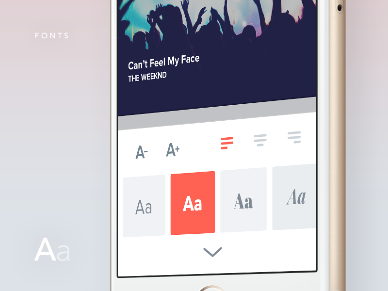 LyricsCard — Fonts material mockup ux ui android ios custom edit font