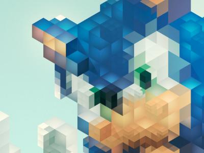 Sonic 16bit evo 2 16bit 8bit pixel character retro vintage sega videogame consolle illustration vector illusion optical cube facet polygon lowpoly triangulation