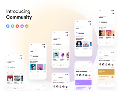 Introducing Community visual concept android ios gamification icon minimal app music community free flow