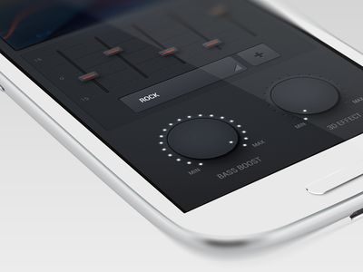 Visual Equalizer slider knob controls button ui equalizer eq concept android app music sound groove smooth bass boost 3d effect toggle wave led interface level clean buttons icon icons treble