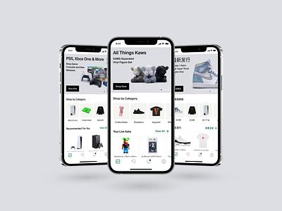 Marketplace Homepage UI dailyui product design ux market ps5 nike kaws merchandise browse homepage sneakers app design ecommerce ui