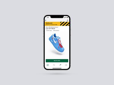 ReStockX Product Details Page Design winner ecommerce product page pdp app design design bidding bid raffle app ui