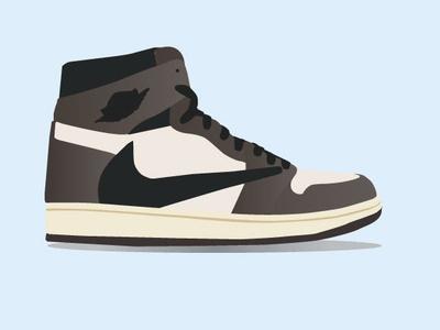 Jordan 1 Retro High Travis Scott stockx sneakers kicks shoes vector illustration nike jordan travis scott sneakerhead sneaker