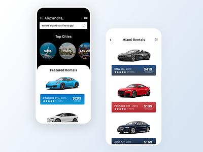 Luxury Car Sharing UI discover cars rental lyft uber sharing app ios car travel airbnb turo ui