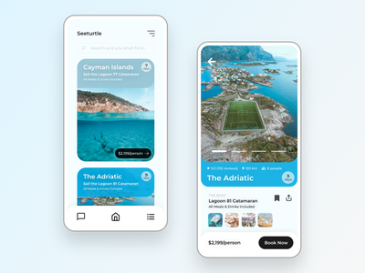 Seeturtle - Sailing Trips App UI trip planner sharing economy yachting yacht sailing boating water ocean sea boat plane fly ux book discover airbnb design app ui travel