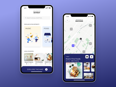 Welcome to Detroit - Welcome Travel App UI restaurant travel app traveling uiux dailyui zomato blue map discover foodie music detroit travel madewithadobexd madewithxd food yelp design app ui