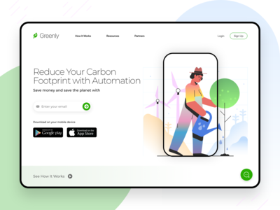 Greenly - Energy Saving App Landing Page UI Design