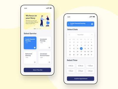Accounting Appointment 🗓• Form Page App UI Design services modern form field form date dashboad finance app accounting software accountant calendar scheduling booking illustraion clean ui accounting finance ux design app ui