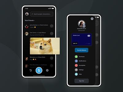 Venmo - Payment Mobile App UI Dark Mode Design credit wallet card send money profile social friends finance app finance paypal payment venmo dark app dark theme dark mode dark ui ux design app ui