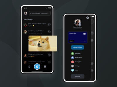 Venmo - Payment Mobile App UI Dark Mode Design