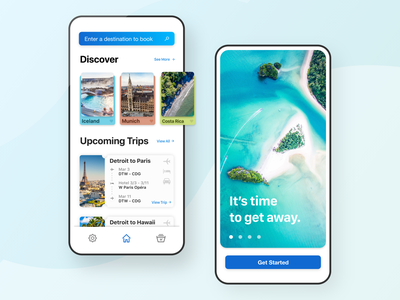 Away Travel Discovery App Remix - UI Design blue lockscreen signup book search home screen login trips tickets plane airbnb hotel airfare booking travel discover ux design app ui