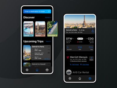 Away Travel Discovery App Dark Mode - UI Design