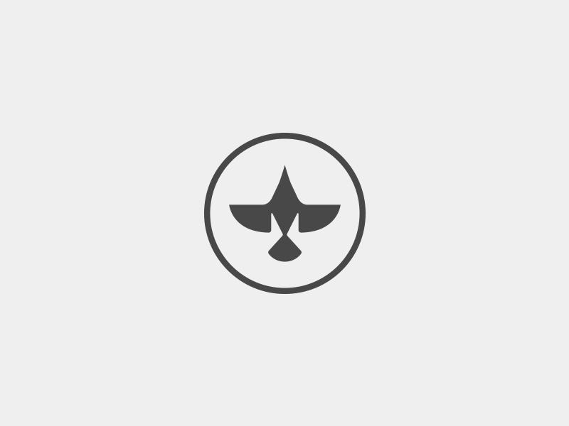 Tengu Logo icon symbol logo silhouette wings flying fly round geometric circle bird crow