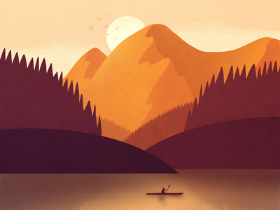 Wilderness Kayak lake forest texture sunset nature firewatch wilderness mountain illustration