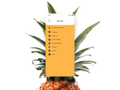 Daily UI #007 - Settings - Social Pineapple
