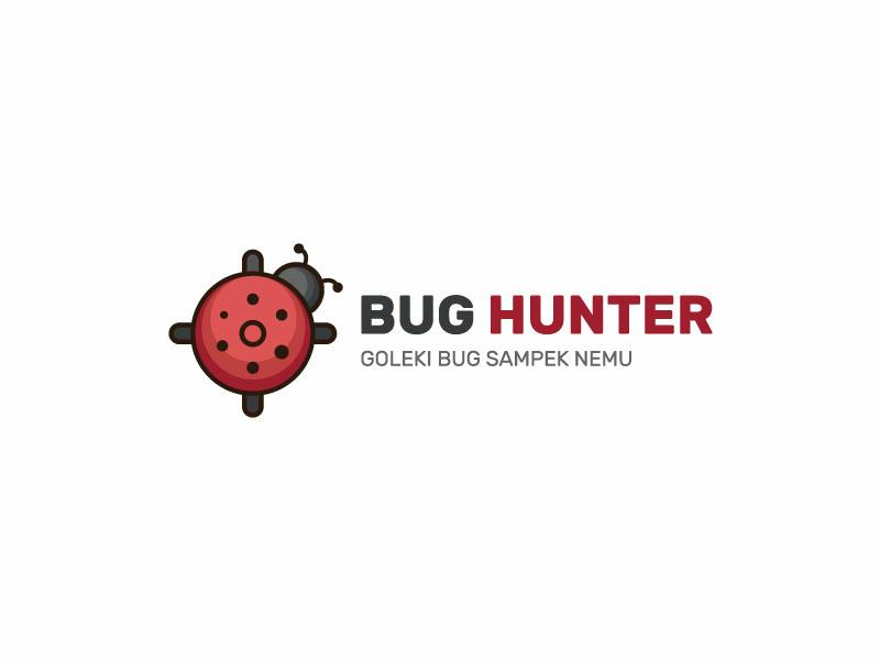 Bug Hunter Logo forsale animal analyst security software programmer developer mascot logo horizontal sniper target ladybug logo modern insect identity dualmeaning clean simple bug