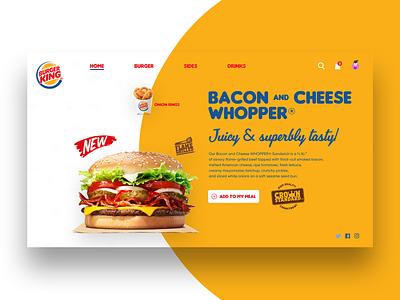 A Little Concept For Burger King website webpage burger burger king graphic design design typography landingpage branding logo