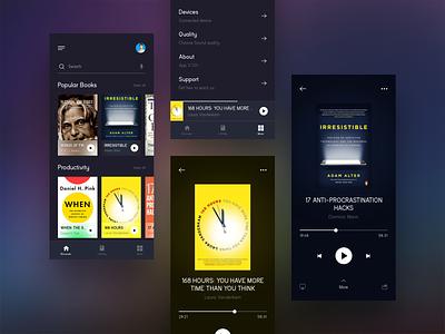Audio Book App UI books audio appdesign app audiobook design typography graphic design
