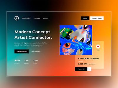 NFT Marketplace Website artist trend new web ntf marketplace website nft ui uiux typography design graphic design