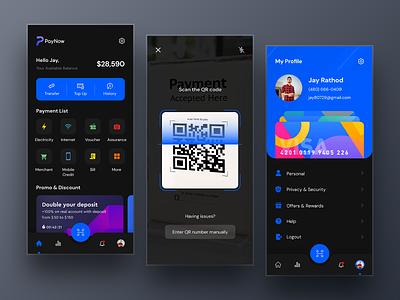 E-Wallet App - Dark Mode ux ewalletapp design typography bankingapp wallet ewallet appdesign app uiux graphic design 3d logo ui