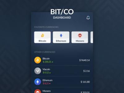 Bitco - Sketch Crypto App dashboard mobile react android giveaway invite app ios ico crypto