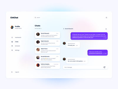 Chat Concept chatting chatbot voit team web simple clean saas purple desktop minimal ui  ux figma message messenger glass morphism concept chat app chat