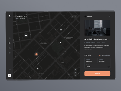 Booking Map design minimal clean interface traveling trip map orange dark mode dark theme dark ui  ux airbnb booking