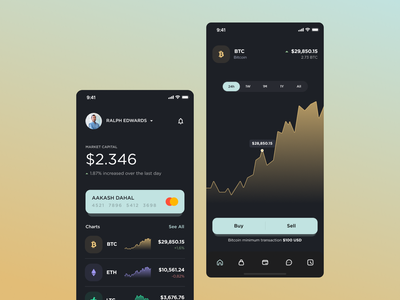 Crypto Wallet app crypto wallet fintech app voit team statistic finance wallet ethereum bitcoin mobile cryptocurrency dark app dark mode dark theme crypto design ui web ui  ux minimal